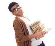 Free Young Man In Glasses With Books Stock Photography - 93301052
