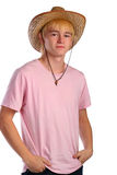 Young Man In Pink Shirt And Cowboy Hat Stock Photo