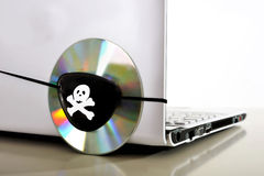 Young Man In Pirate Costume And Computer Royalty Free Stock Image