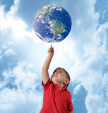 Young man indicate the world stock images