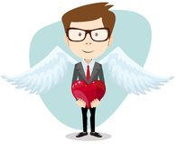 Young Man Inspired by Love. Keeps the Heart. Stock Photo