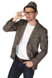Young man with jacket over white background Stock Photos