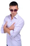 Young man in jean Stock Images