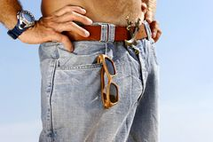 Young man in jeans. Close up of a young man in jeans Royalty Free Stock Photo