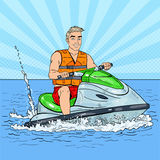 Young Man on Jet Ski. Extreme Water Sports. Pop Art illustration Royalty Free Stock Photo
