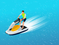 Young Man on Jet Ski, Tropical Ocean. Creative vacation concept. Water Sports.  Fun in the ocean, Extreme Sport, water Royalty Free Stock Photo