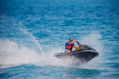Young Man on Jet Ski Stock Image