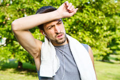 Young man jogging in park. Health and fitness Stock Image