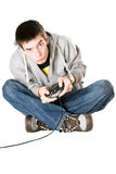 Young man with a joystick Royalty Free Stock Images