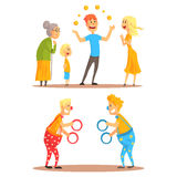 Young man juggling with oranges before his family. Clowns juggling with rings on a circus show. Circus or street actors. Set of colorful cartoon detailed vector Stock Photos