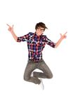 Young man jumping Stock Photos