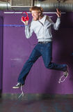 Young man jumping Royalty Free Stock Image
