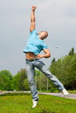 Young man jumping in air Royalty Free Stock Image