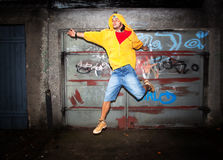 Young man jumping, grunge Stock Photo