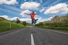 Young man jumping joy Royalty Free Stock Photo