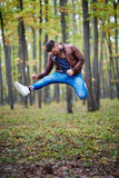 Young man jumping for joy Royalty Free Stock Photography