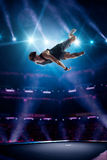Young man is jumping on trampoline Royalty Free Stock Photography