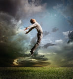Young man jumping up to Sky Royalty Free Stock Images