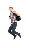 Young man jumping on white Royalty Free Stock Images