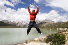 Young man jumps high Royalty Free Stock Photos