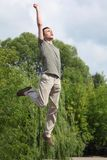 Young Man Jumps Outdoor Royalty Free Stock Photo