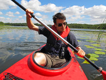 Young man on Kayak Royalty Free Stock Photos