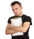 Young man keeping blank clipboard Stock Image