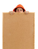 Young man keeping cork board Stock Photography