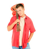 Young man keeping electric guitar Stock Photo