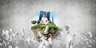 Young man keeping mind conscious. Stock Images