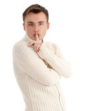 Young man keeping silent Stock Photo