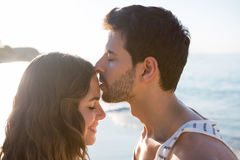 Young man kissing girlfriend forehead at beach. Side view of young man kissing girlfriend forehead at beach during sunny day royalty free stock photos