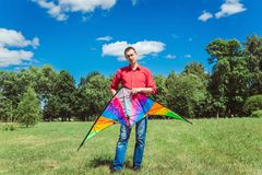 Young man with kite Royalty Free Stock Photography