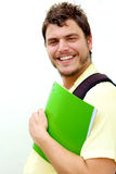 Young man with a knapsack Royalty Free Stock Images