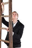 Young man with ladder Royalty Free Stock Images