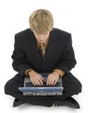 Young Man and Laptop Stock Images