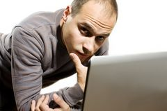 Young man with laptop Royalty Free Stock Photo