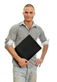 Young man with laptop. Stock Image