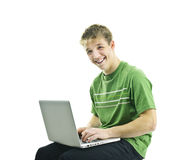 Young man with laptop computer Stock Image