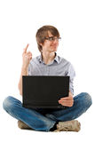Young man laptop. Has idea! Royalty Free Stock Photo