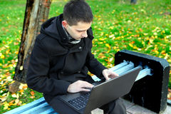 Man With Laptop Outdoor Royalty Free Stock Photo