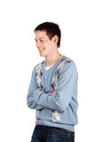 Young man laugh cross hands Royalty Free Stock Images