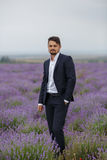 Young man in a lavender field. Royalty Free Stock Images