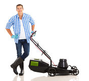 Young man lawnmower Stock Photo