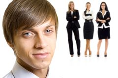 Young man leading a business team stock photo