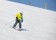 Young man learning to ski Royalty Free Stock Image
