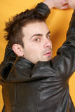 Young man with leather jacket Stock Photo