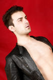 Young man with leather jacket Royalty Free Stock Photo