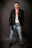 Young man in a leather jacket Royalty Free Stock Photography