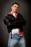 Young man in a leather jacket Stock Image